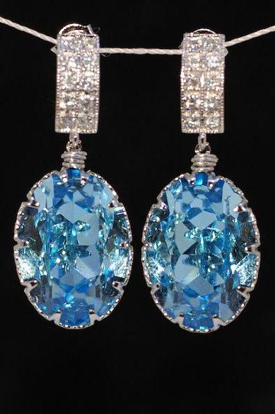 Cubic Zirconia Detailed Earring and Swarovski Oval Aquamarine Crystal (E271)