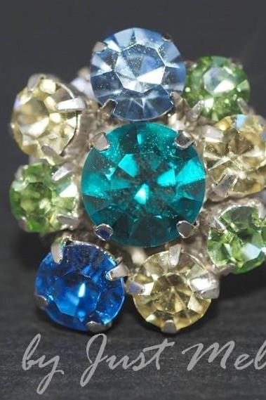 Vintage Earrings with Multi Color Swarovski Crystals - Blue Green (E218)