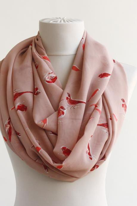 Spring scarf with bird prints coral pink summer scarf