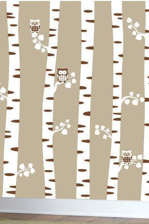 birch trees vinyl wall decal owl family tree truck babies kids Owls decal bird birds home house nursery kid wall Decals baby room Sticker