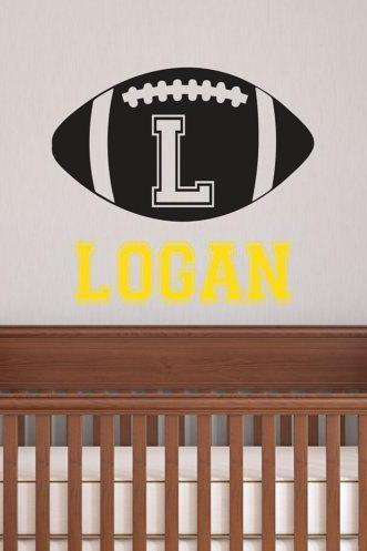 boys ball football soccer Initial name Wall Decal teen baby boy decals custom name vinyl Nursery kid Wall Sticker kids room mural murals E39