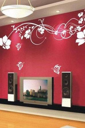Vinyl Wall Decal romantic flower vines flowers butterfly girl floral TV set home house Art wall Decals Wall Sticker stickers baby room kid