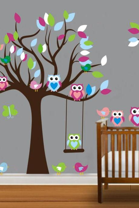 Vinyl Wall Decal on sale colorful nursery cute Owl family Tree trees owls home house Art wall Decals Wall Sticker stickers baby room kid 815