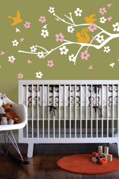 Vinyl Wall Decal romantic cherry flower Tree branch bird birds squirrel home house Art wall Decals Wall Sticker stickers baby room kid B608