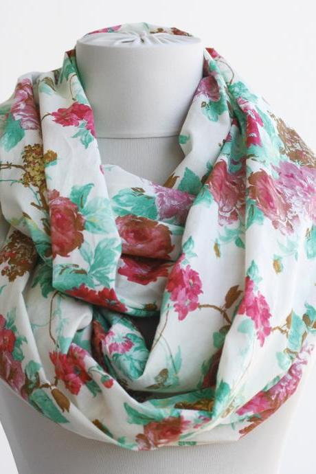Cotton infinity scarf floral spring scarf red and mint green
