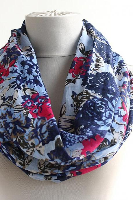 Blue infinity scarf,cotton spring scarf,tube scarf