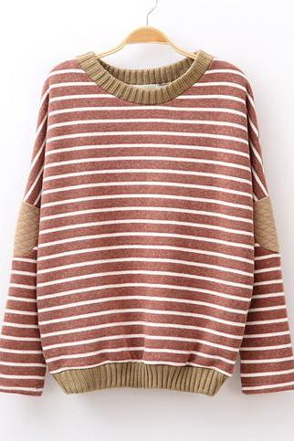 Stripe Winter Thick Bat Sleeve Sweater Fleece