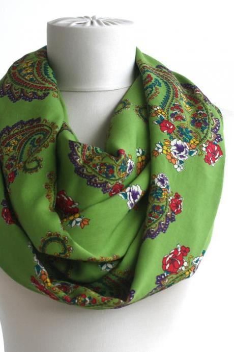 Green infinity scarf spring loop scarf snood scarf summer women accessories