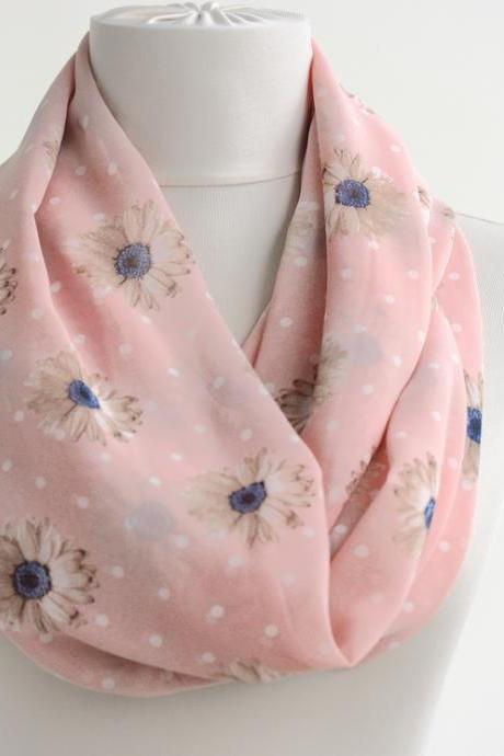 Pink daisy scarf spring infinity scarf
