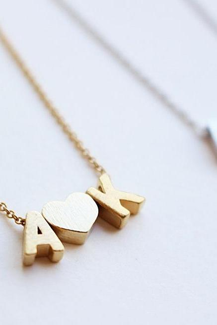 Personalized initial necklace, Letter necklace, Heart necklace, Brushed finish