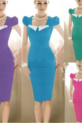 New fashion Elegant Womens Pinup Vintage Bodycon Puff Sleeve Sheath Shift Party Formal Career Pencil Knee_Length Dresses