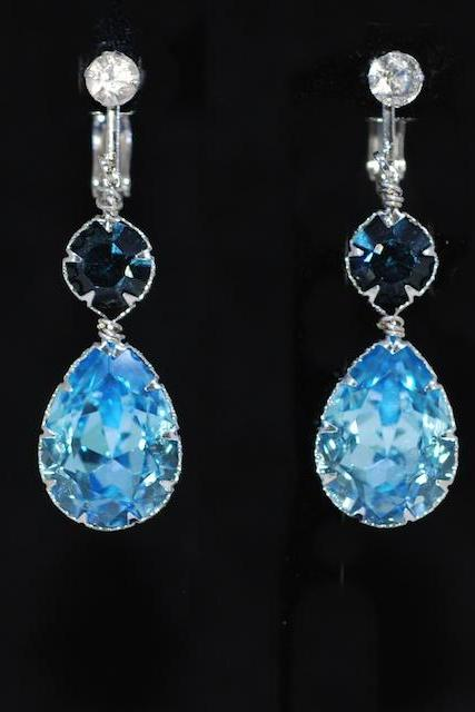 Crystal Screw Back Clip On Earring with Swarovski Montana Blue Round, Aquamarine Teardrop Crystals - Wedding Jewelry, Bridal Earring (E681)