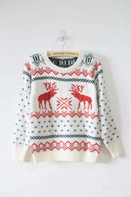 spring Fall Winter 2014 Vintage Deers Sweater Pullover