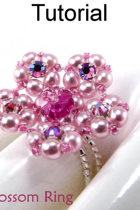 Beading Tutorial Pattern Ring - Crystal Stretch Flower Jewelry - Simple Bead Patterns - Cherry Blossom Ring #5207