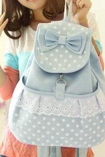 Canvas Bag,Vintage Pastel Bleu Canvas Backpack Girl Backpacking Gift