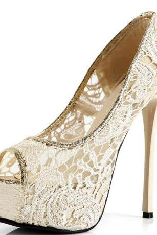 Peep-Toe Lace Stiletto Heels