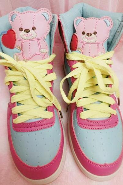 Harajuku Cute Bears black color Sneakers Shoes