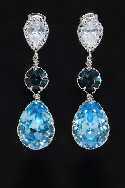 Cubic Zirconia Teardrop Earring with Swarovski Montana Blue Round, Aquamarine Teardrop Crystals - Wedding Jewelry, Bridal Earrings (E679)