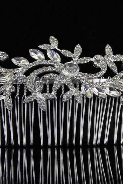 Silver Hair Combs Floral Hair Comb Wedding Comb Rhinestone Crystal Hair Combs