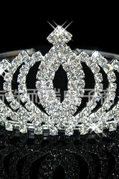 Crown Rhinestones Tiara for a Bride Silver Plated Crown Tiaras for a Queen