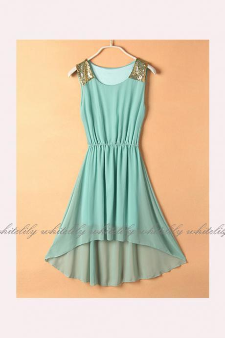 High Low Dress in Green