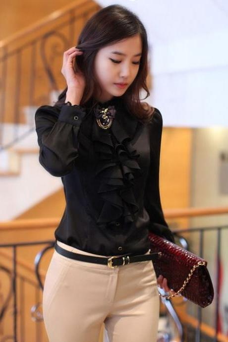 New Fashion Free Ship Ruffled Black Elegant Chiffon Blouse for Women