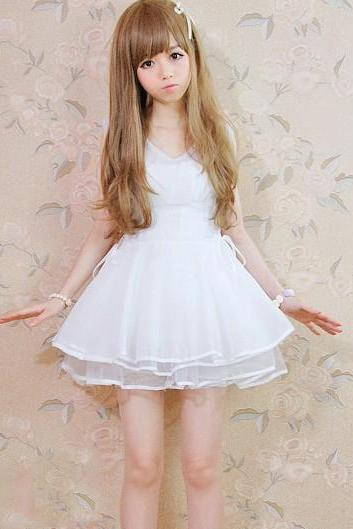 2014 Cute Lolita Chiffon White Dress