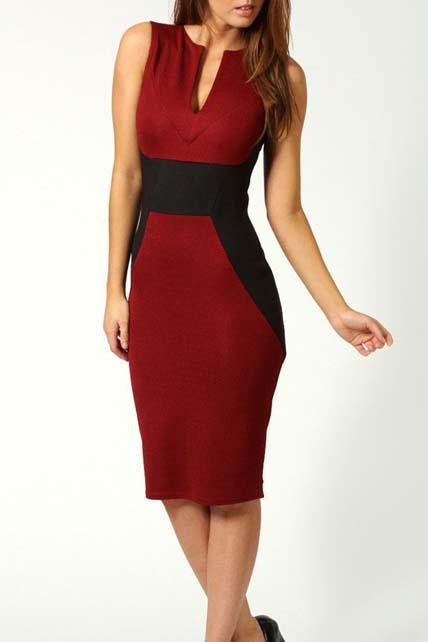 OL Style Tank Pattern Color Match Tight Dress - Red
