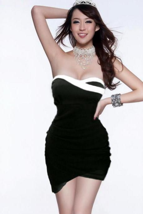 Wrapped chest hit the color package hip sexy dress