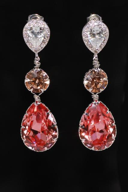 Cubic Zirconia Teardrop Earring with Swarovski Light Peach Round, Rose Peach Teardrop Crystals - Wedding Jewelry, Bridal Earrings (E687)