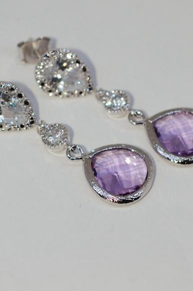 Wedding Earrings, Bridal Jewelry - Cubic Zirconia Teardrop Earring with Round CZ and Lavender Fat Teardrop Fancy Glass (E574)
