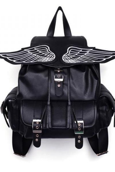 Fashion black ANGEL'S WING BACKPACK for lady and girl