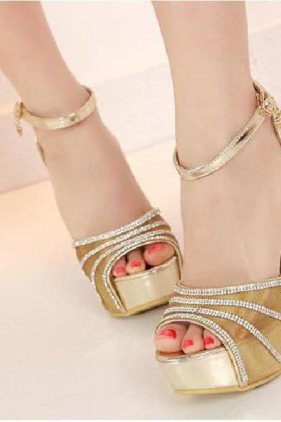 Rhinestone heels waterproof thick with fish mouth sandals fashion stitching gauze