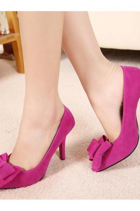 Fine pointed high-heeled pumps with bow high-heeled shoes wedding shoes