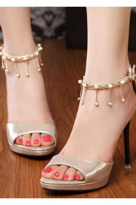 Decorative metal chain fashion pearl temperament ladies stiletto sandals women sandals