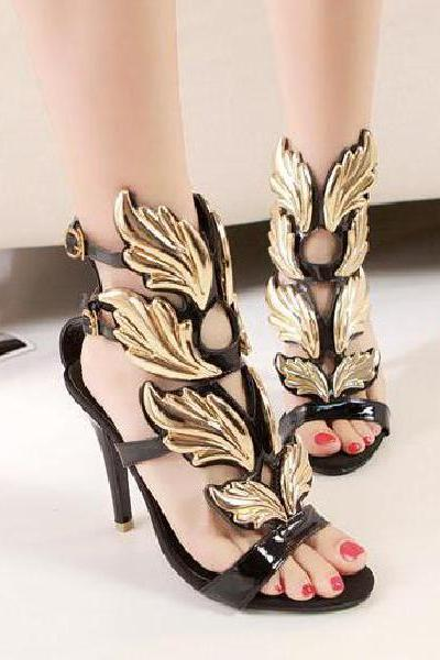 Ultra thin with a metal buckle with high-heeled sandals