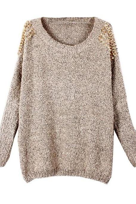 Fashion Apricot Batwing Sleeves Pullover Rivets Shoulder Sweater