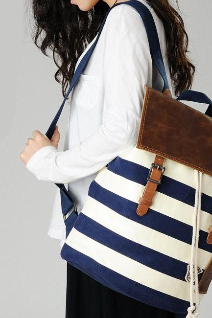 Leisure Navy Style Strip Print Canvas Backpack - Blue & White
