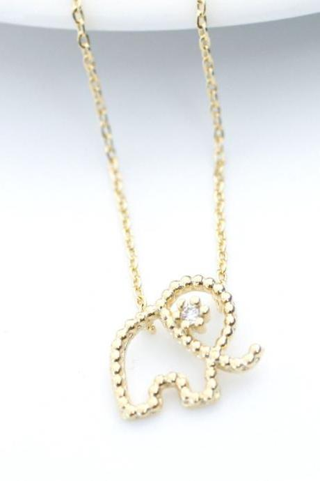 Cute and Tiny elephant Pendant Necklace detailed with CZ in gold