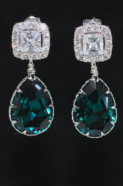 Wedding Earrings, Bridesmaid Earrings, Bridal Jewelry - Cubic Zirconia Square Earring with Swarovski Emerald Green Teardrop Crystal (E689)