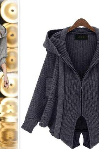 Bat Sleeve Hooded Sweater Coat