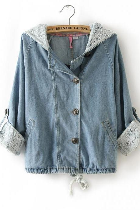 Sleeved Lace Denim Shirt Jacket A