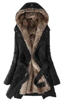 Fashion black color Faux Fur Lined Coat