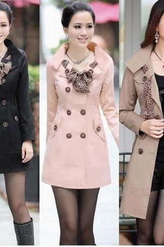 HOT Womens Lady Double-Breasted Long Trench Coats Scarf Coat Outwear US Size 4--12