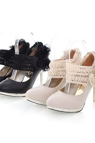 NEWEST womens fashion shoes high heels Flowers bow wedding shoes 2 color size US(4,5,6,7,8)