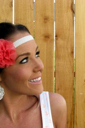 Grey and White Chevron Print Headband w/ Coral Chiffon Eyelet Flower