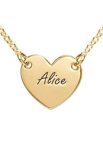 Personalized 18K Gold Plated Engraved Girls Name Necklace Pendant Heart Custom Message Flower Girl Gift Jewelry