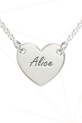 Personalized Sterling Silver Engraved Girls Name Necklace Pendant Heart Custom Message Flower Girl Gift 925 Jewelry