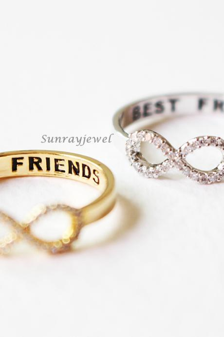 Best Friends Infinity ring, Infinite ring, Friendship Ring, Cubic Zircon Ring