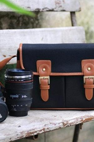 Canvas Camera Bag Outdoor Camera Bags Camera Messenger Bag Camera Crossbody Bags---black